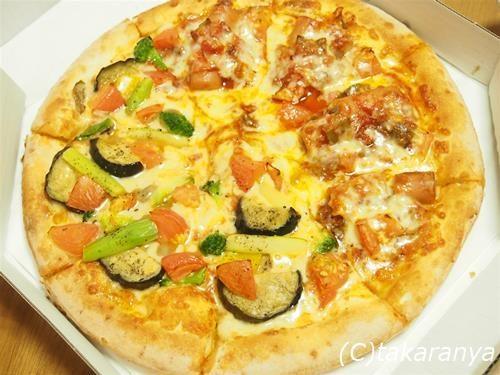 サルサとソーセージ+彩り野菜のピザ