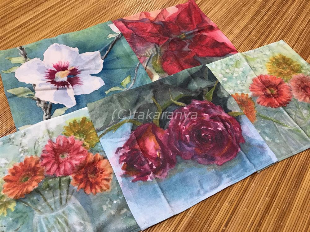 オリジナルお花のプリントハンドタオル