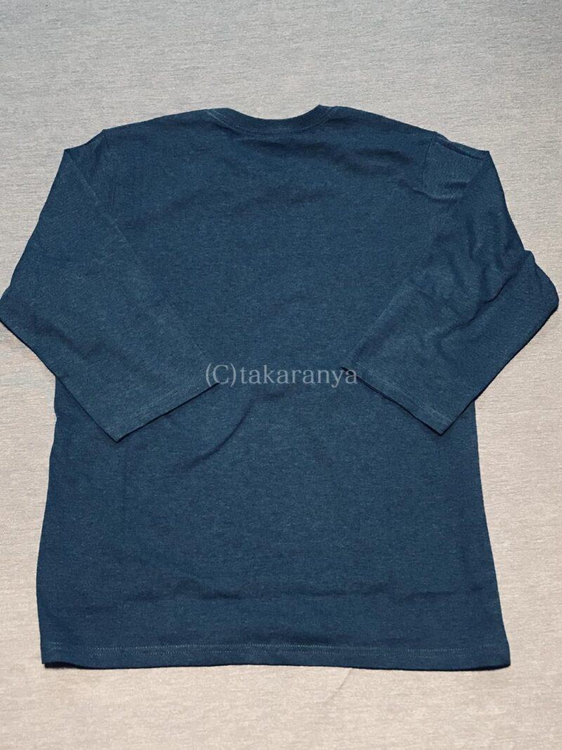 セシールメンズ七分袖Tシャツアッシュブルー後ろ