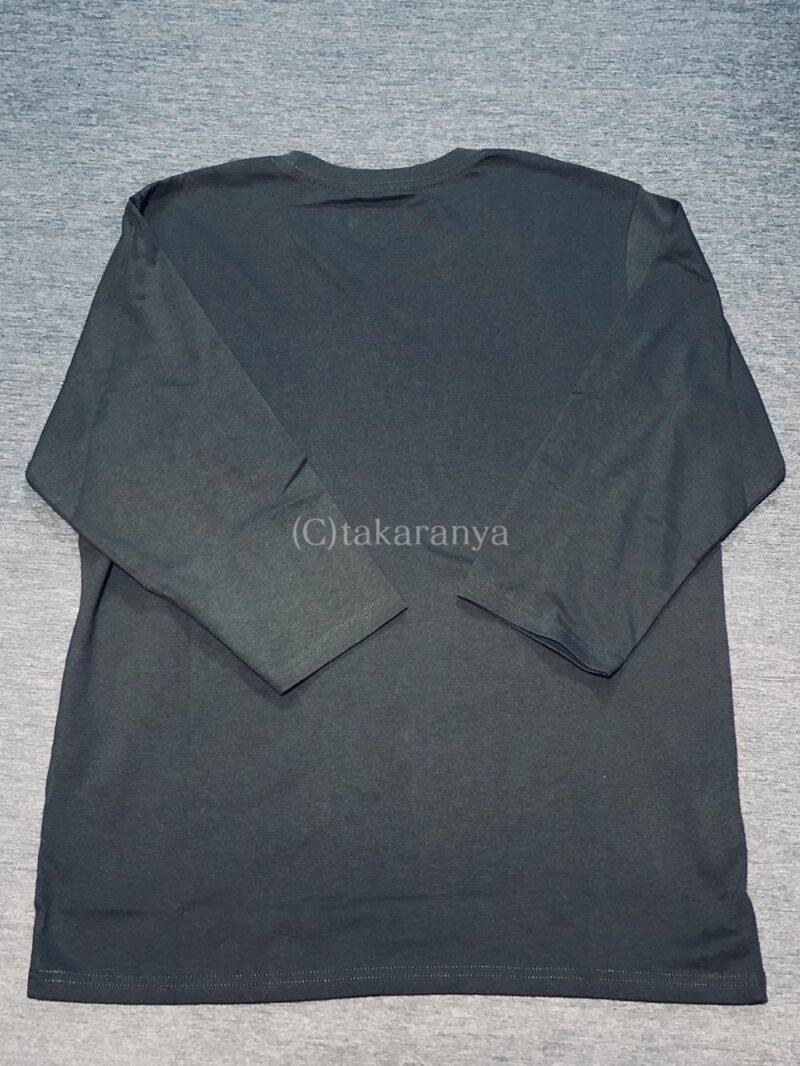 セシールメンズ七分袖Tシャツスレートグレー後ろ